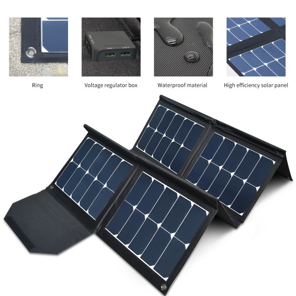 Solarmodule Tasche 100Wp - 12V kristalline flexible Outdoor Solarpanel bag